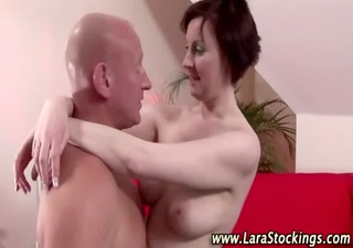 sexy mature brit in stockings gets a hot spunk