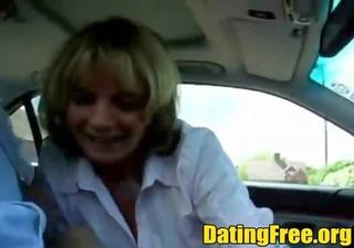 blond amateur aged car public blowjob