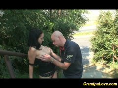 grandpa fucking a worthwhile brunette babe and