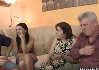 His GF is seduced by old mom and fucked by old