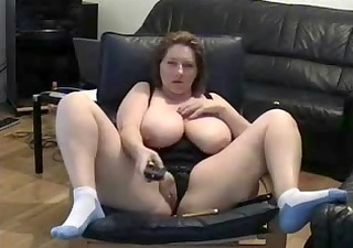 mature lady fingering muff in living room