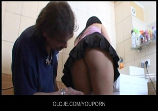 old repairman fix up a youthful cum-hole